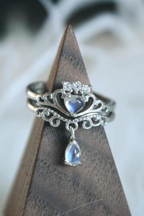 Moonstone ring crown ring sterling silver ring set